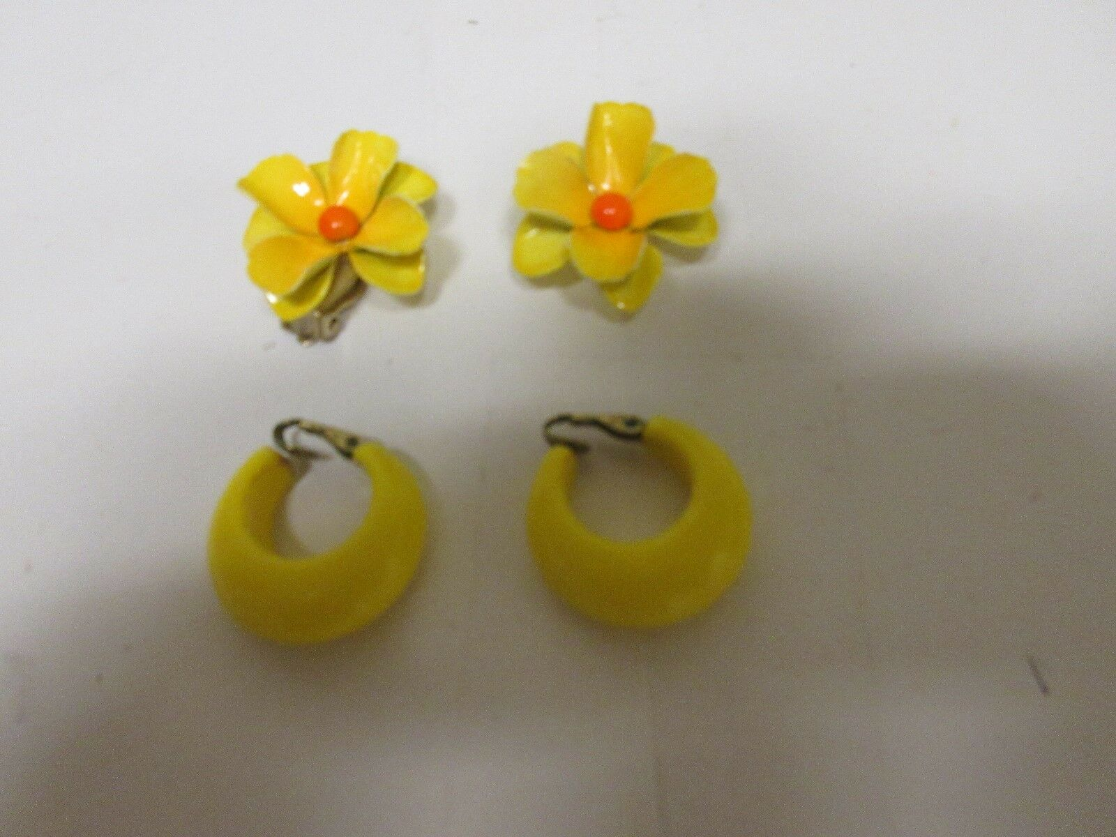 Costume Jewelry ,Yellow Earrings , 2 Pair , Please See