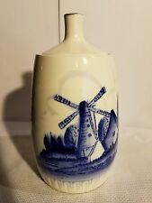 "DELFT BLUE Bottle 6"" DECANTER? 1 handle & cork around lid, windmill, house white"