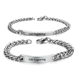 351e7f6b2 Image is loading Personalized-Stainless-Steel-Couple-Bracelets-Name-Bangles- Bracelets-