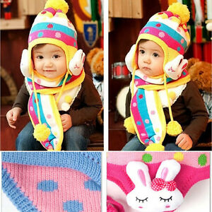 Baby Thickening Winter Warm Hats Kids Cap Child Hat Earflaps Knitted ... 8327cdd838ef