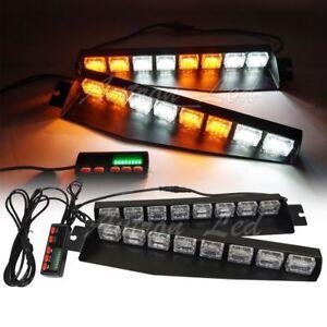 """29/"""" Inch 36W Amber LED Warning Emergency Visor Dash Deck Split Strobe Light Bar"""