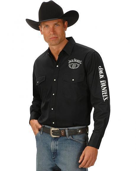 Jack Daniels hommeches longues brodé western shirt JD produits officiels