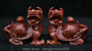 6-8-039-Ancien-Vieux-Chinois-Jade-Rouge-Sculptant-Tortue-Tortue-Dragon-Yuanbao