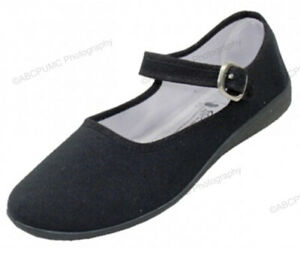 Womens-Mary-Jane-Shoes-Cotton-Upper-Flat-Lolita-Round-Toe-Ballet-Colors-Sizes