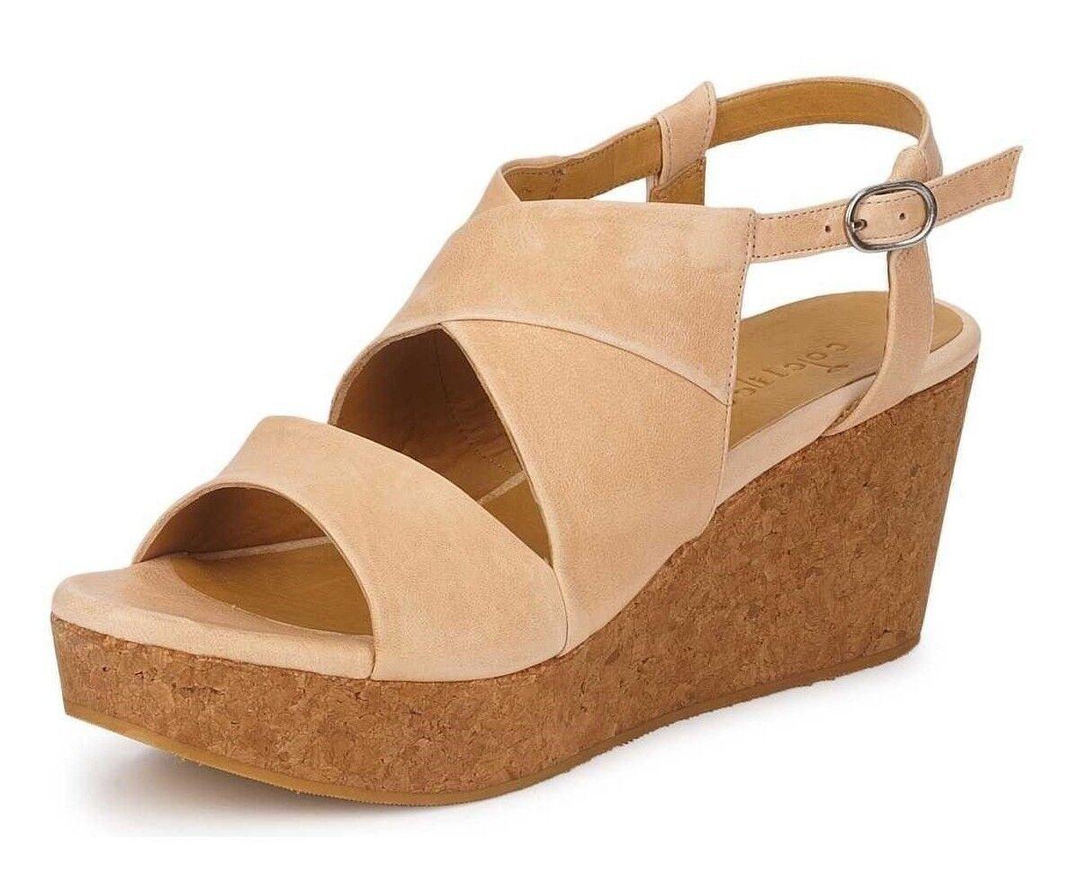 Coclico Zapatos Zapatos Zapatos Melania Cuña con Plataforma De Corcho Beige Charol Sandalias De Cuero 40  395  muchas concesiones