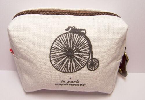 In Paris Penny-farthing Bike Design Canvas Coin Purse Small Mini Zipper Wallet