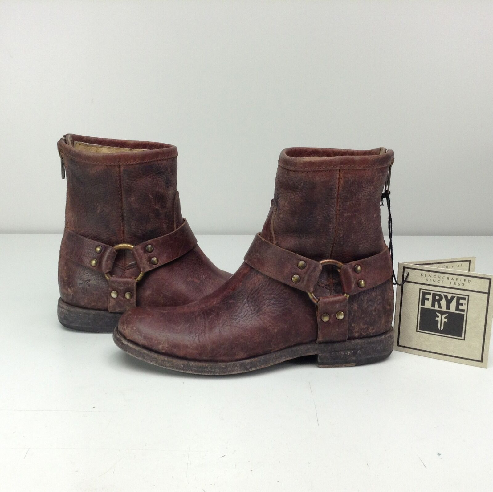 FRYE Phillip Harness Dark Braun Stone Distressed Moto Cowboy Stiefel 5.5 Ankle