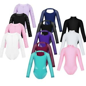 Girls-Kids-Dance-Gymnastic-Leotard-Long-Sleeve-Turtle-Neck-Top-Bodysuit-Costume