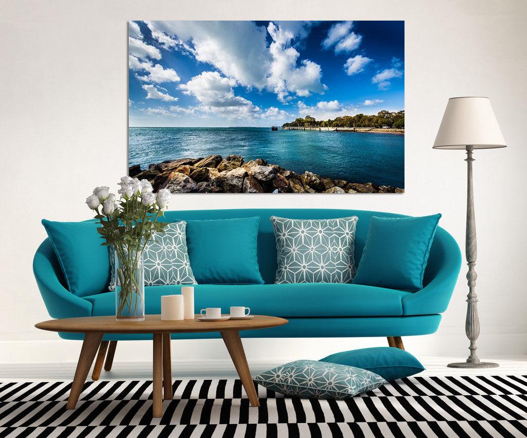 3D Weiße Wolken See Stein 732  Fototapeten Wandbild BildTapete AJSTORE DE Lemon