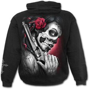 Spiral-Direct-DEATH-PISTOL-Hoodie-Gun-Mexican-Roses-Skulls-Biker-Rock-Hoody