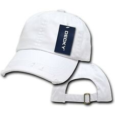White Blank Solid Vintage Washed Cotton Polo Style Low Crown Baseball Cap Hat