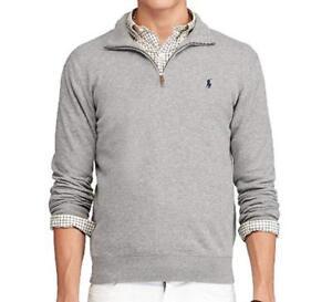 534f0e0eb6e Polo Ralph Lauren Men s Half Zip French Rib Cotton Sweater Grey ...