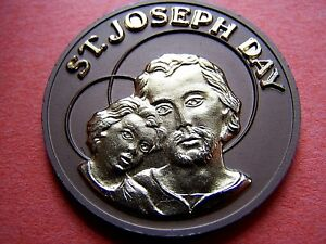 1974-ST-JOSEPH-DAY-Gold-on-Brown-Dual-Aluminum-10g-HR-Commemorative-Doubloon