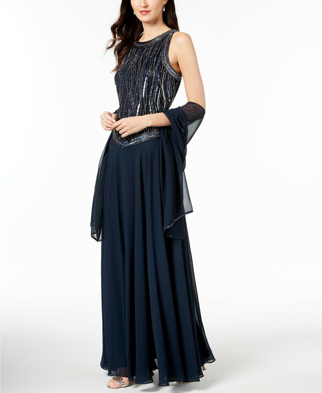 289 J KARA Womens blueE Handbeaded Sleeveless LONG Gown with Shawl DRESS SIZE 16