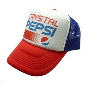 743f1ce958f vintage Crystal Pepsi trucker hat mesh hat red white blue new snap ...