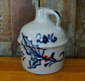 Miniature Stoneware Jug Blue & Red Holly Salt Glaze Rowe Pottery Christmas 2016