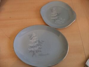 2-OLD-VINTAGE-RETRO-ROYAL-DOULTON-FOREST-GLADE-PLATES-CHINA-DINNER-GREY-PLATTERS