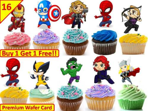 36 AVENGERS MARVEL CUTE Boys Spider Cup Cake Fairy Edible Wafer Toppers STAND UP