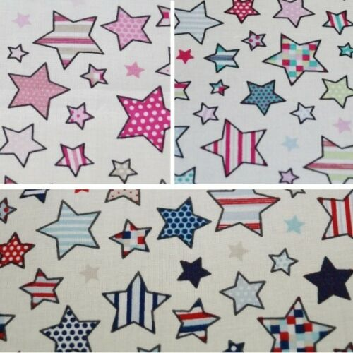 100/% Cotton Fabric Lifestyle Twinkle Little to Large Stars 140cm Wide