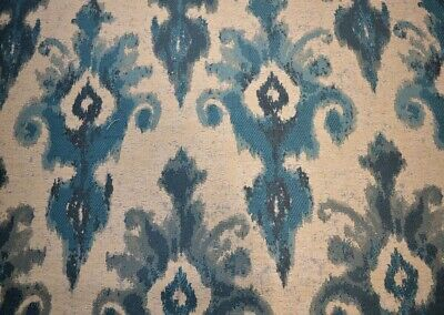 Elegant Spa Blue Teal Large Damask Scroll Upholstery Fabric By The Yard
