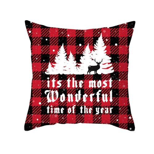 "18/""Merry Christmas Pillow Case Xmas Tree Elk Throw Cushion Cover Sofa Home Decor"