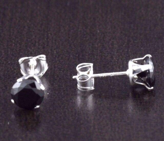 925 Sterling Silver CZ Womens Mens Baby Girls Black  Round Stud Earrings 2-10mm