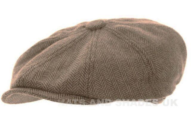 92d9f4624e9 Mens Wool Flat Cap Peaked - 8 Panel Herringbone Check Racing Hat ...