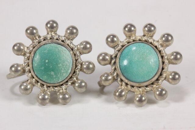 Sterling Silver Screw Back Earrings W/ Aqua Stone Vintage Jewelry 5.9 Grams Wt