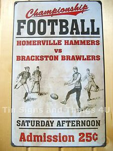 Vintage-Football-Art-TIN-SIGN-metal-poster-wall-decor-sport-bar-garage-retro-OHW