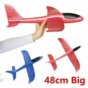 """Large Foam Glider Stunt Plane Kids Easy Build 19"""" Hand Thrown Airplane Outdoor"""