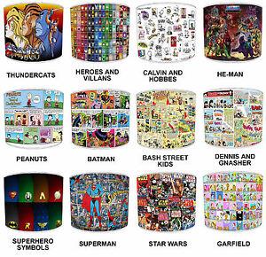 Ninos-Pantallas-de-Lampara-Para-Combinar-infantil-old-comic-superheroes-Cortinas