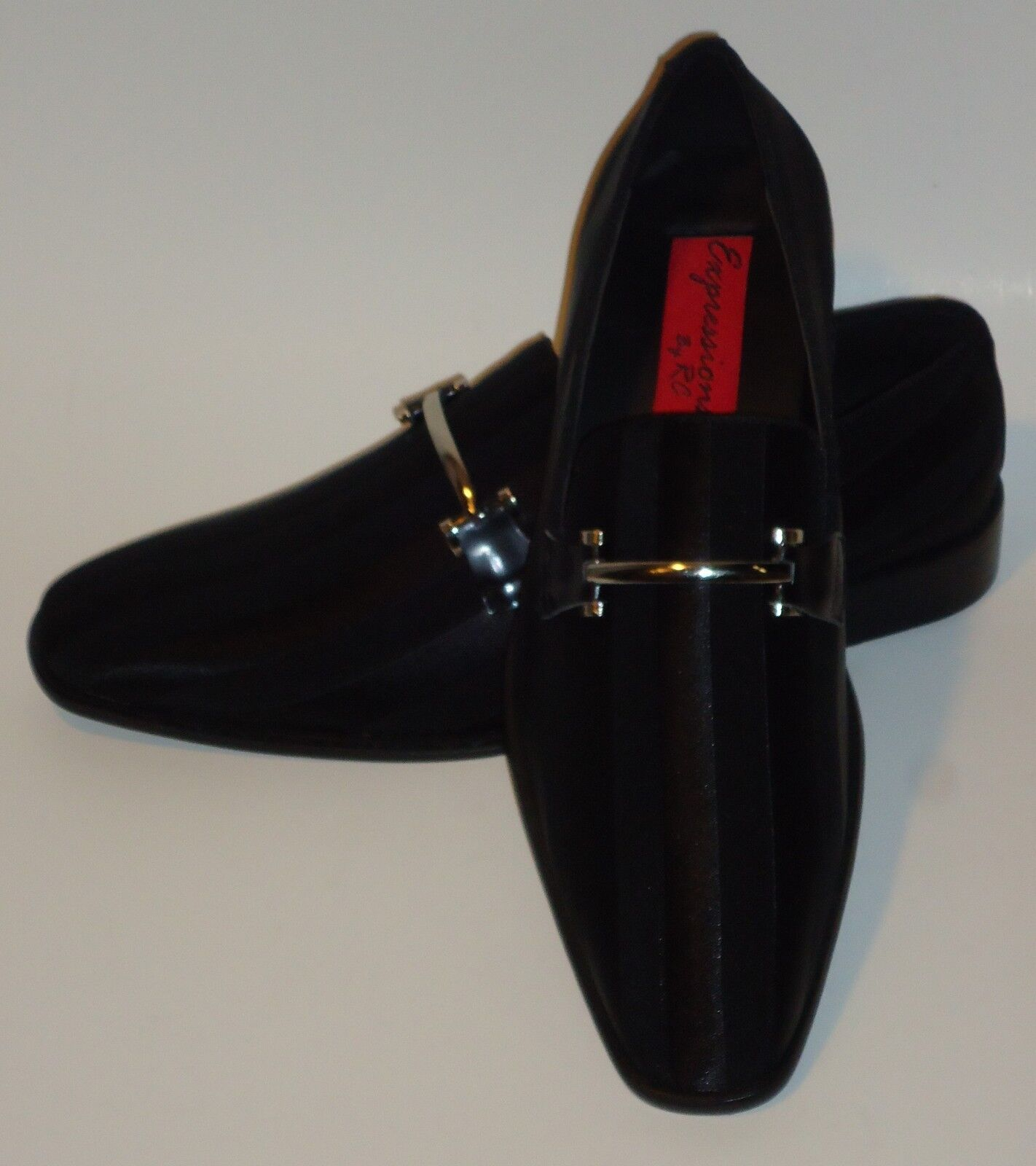 Mens Amazing Black Satin Stripe Tux Dress Loafers shoes Expressions 6757