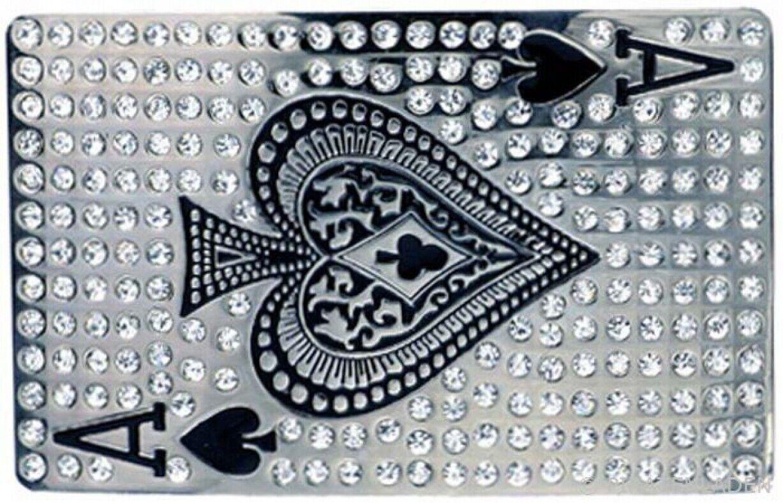 Buckle Pik Ass, Glitzer-Strass, Poker, Gürtelschnalle