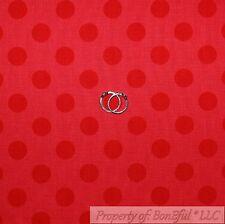 BonEful Fabric Cotton Quilt Red Minnie Mouse Xmas Large Polka Dot Stripe L SCRAP
