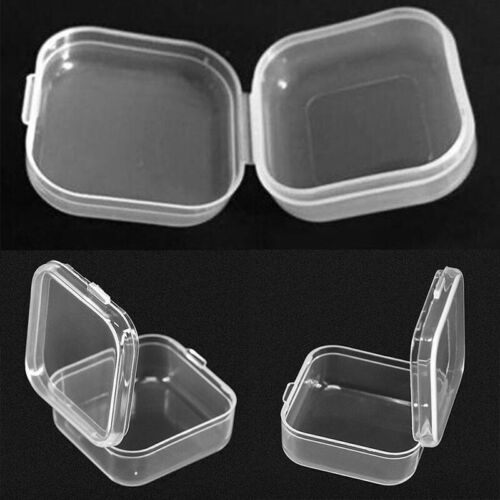 10 Pcs Mini Clear Plastic Small Box Hook Jewelry Earplugs Storage Container Case