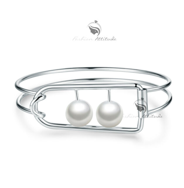18k white gold plated double pearl banble bracelet function modern statement