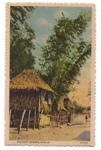 Philippines-postcard-Manila-Feathery-Bamboo-huts-houses
