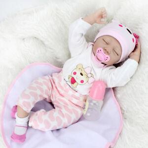 Reborn Girl Dolls  22'' Sleeping Vinyl Silicone Newborn Baby Handmade Xmas Gift 705169422648