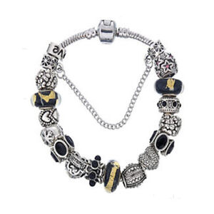 10541f2572b03 Details about NEW Silver Love Star Black Gold Fleck Murano Beads European  Charm Bracelet