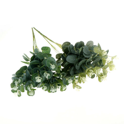 16 Heads Artificials Fake Leaf Eucalyptus Green Plant Leaves Flowers Home DecorD