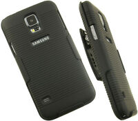 Black Rubberized Hard Case + Belt Clip Holster Stand For Samsung Galaxy S5 Phone on Sale