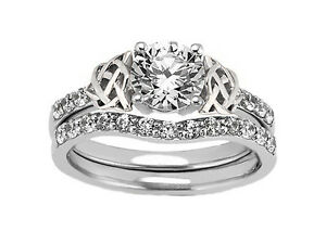 1.08 Carat Total Weight Double Celtic Diamond Engagement Ring ...
