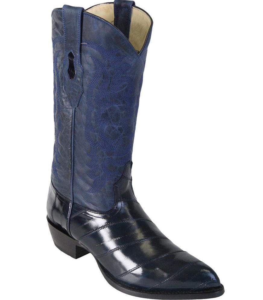 LOS ALTOS Hommes Bleu Marine Véritable Anguille Western Cowboy démarrage J-TOE (D) 090810