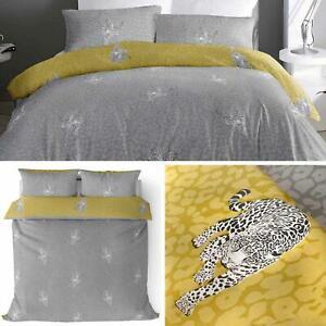 Grey Duvet Covers Leopard Print Ochre Reversible Modern Quilt