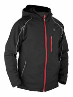 Men's Winter Cordless Heated Hooded Jacket Black With Reflective Decoration