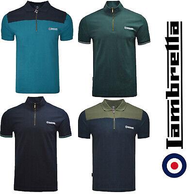 Clothing, Shoes & Accessories Dynamic Lambretta Polo Shirt 1/4 Zip Cycling Twin & Plain Tipped Short Sleeve Mens S-4xl Terrific Value