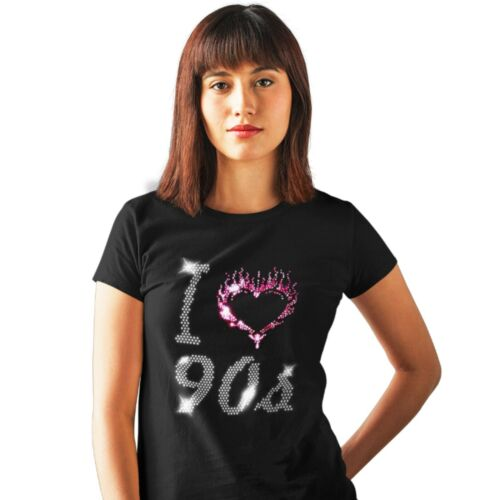any size I Love Nineties 90s Ladies Fitted T Shirt With Crystal Design