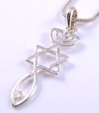 Mesiánico Sello Collar Hebreos raíces Colgante Oro injertado Estrella De David Menorá