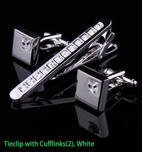 Hombre Cromo Plata Acero Inoxidable Estándar clip cierre barras Pins /& Gemelos