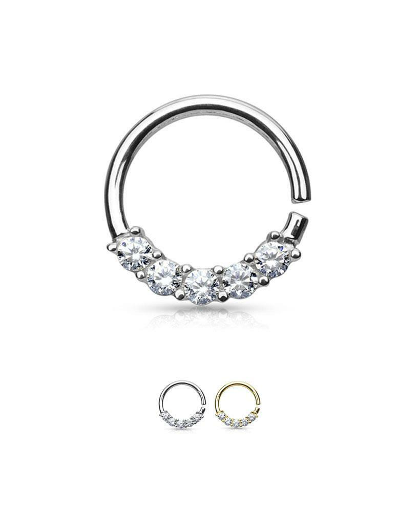 14K Solid White or Yellow gold Continuous Annealed Nose Ring Hoop 3 8  16G